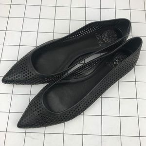 Vince Camuto leather black perforated flats 10.5
